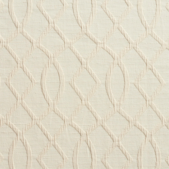 Cream Lattice Woven Upholstery Fabric By The Yard
