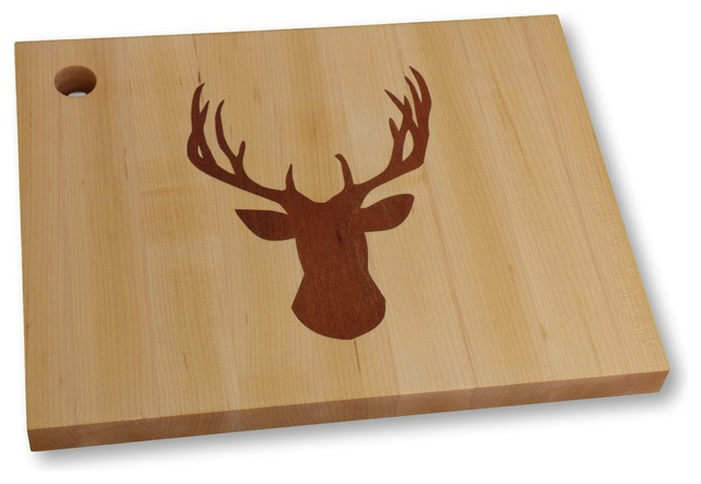 Cutting Board, Designer Maple Cutting Board With Walnut Deer Inlay