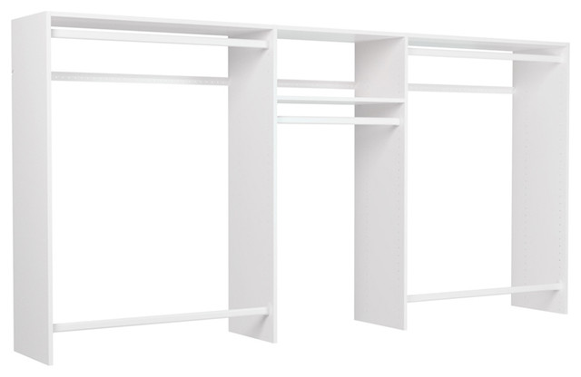 4&x27;-8&x27; Wide Hanging Clothes Doubler Closet Kit, White.
