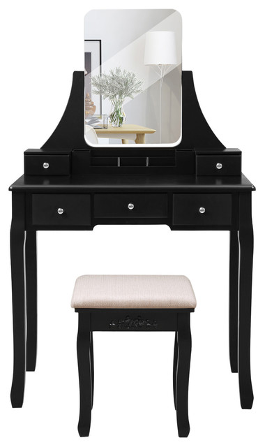 Vanity Table Set With Large Mirror, Vanity Table Set With Lighted Mirror Stool