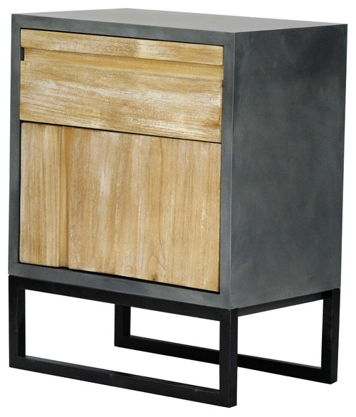 1-Drawer, 1-Door Accent Cabinet, MDF, Wood Iron, Gray, Distressed Wood