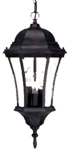 Bryn Mawr Collection Hanging Lantern 3-Light Outdoor Light, Matte Black.