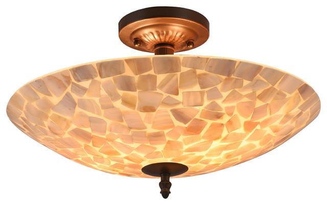 "Sally Mosaic 2-Light Semi-Flush Ceiling Fixture 16""."