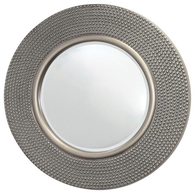 Round Hammered Mirror, Silver, 80x80 cm