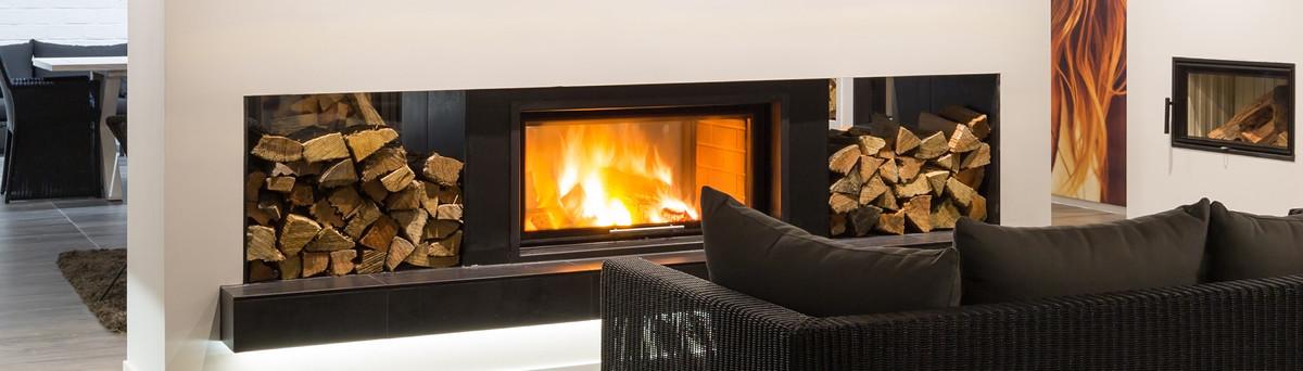 Brushed aluminum fireplace surround