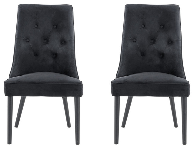 Fantastic Classic 2 Piece Tufted Brush Microfiber Dining Chairs Accent Side Chairs Black Caraccident5 Cool Chair Designs And Ideas Caraccident5Info