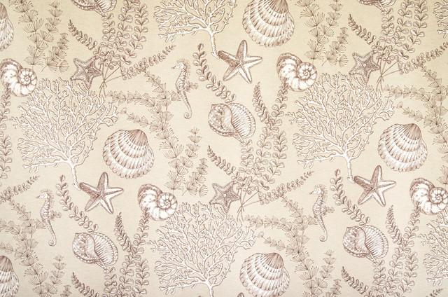 seahorse fabric ocean reef brown toile tan sample fabric