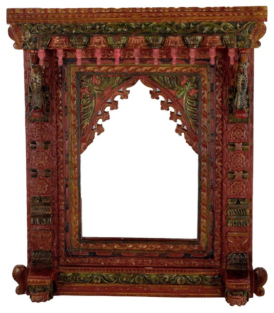 Wooden Peacock Mirror Frame Asian Wall Mirrors by Favors