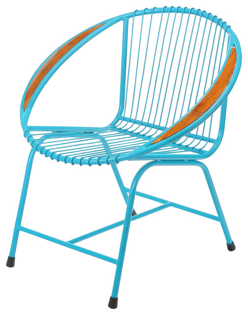 Superb Brooklyn Metal Wire Chair, Blue Contemporary Outdoor Lounge Chairs