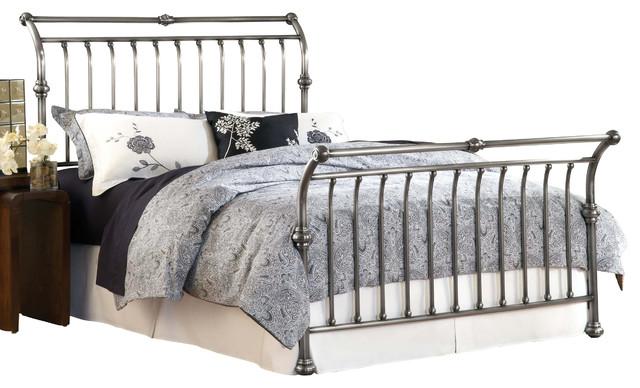 Hillsdale Markam Metal Sleigh Bed In Antiqued Nickel