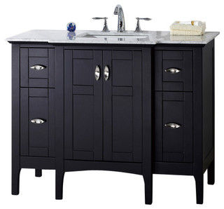 "45"" Single Sink Vanity, Espresso With Marble Top, White"
