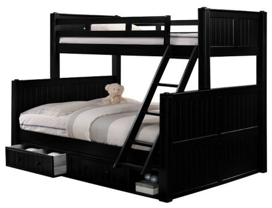 Beatrice Black Twin Over Queen Bunk Bed With Underbed Storage Drawers