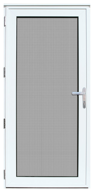Aluminum Security Doors : Quot x white recessed aluminum meshtec security storm