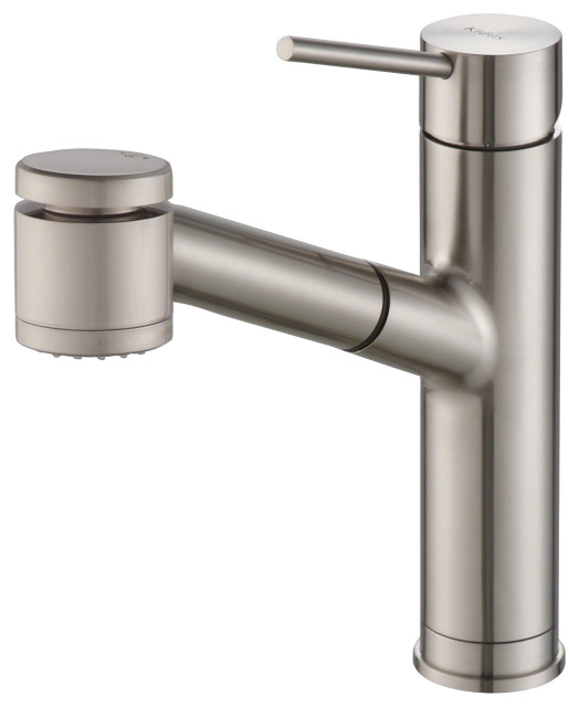 Oletto Pullout 1-Handle 1-Hole Kitchen Faucet, 2-Function, SFS Steel