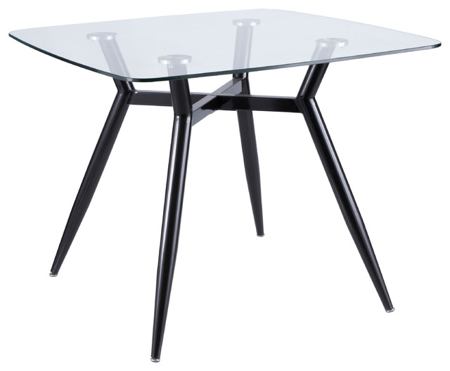 Lumisource Clara Dining Table, Black Metal and Clear Glass