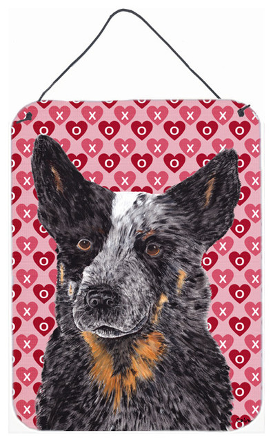 Australian Cattle Dog Hearts Love And Valentine&x27;s Day Wall Print.