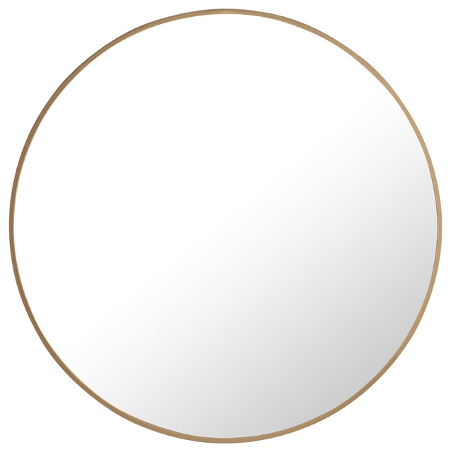 28 Round Metal Frame Mirror, Brass by Elegant Furniture & Lighting