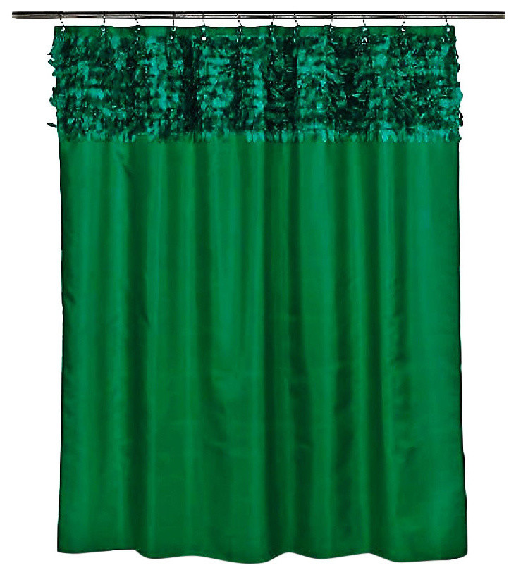 emerald green grommet fabric leaves shower curtain