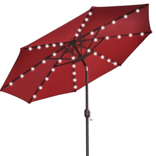 Market Umbrella With Solar-Powered Lights, Burgundy, 9'