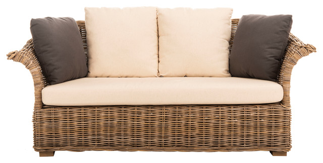 Safavieh Oahu Wicker 2 Seater Sofa, Gray Wash, Cream, Smokey Blue