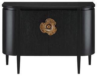 Currey & Co 3000-0004 Briallen Solid Oak Caviar Black Demiline Sideboard Table