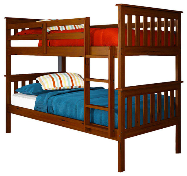 Nebula Bunk Bed With Ladder & Rollout Trundle, Light Espresso, Twin Over Twin.