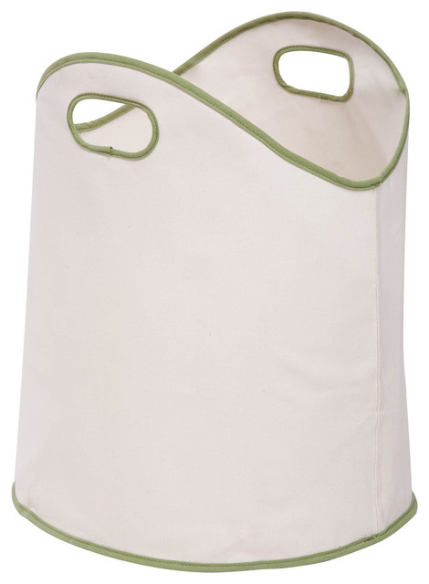 Honey Can Do White And Green Canvas Laundry Basket.