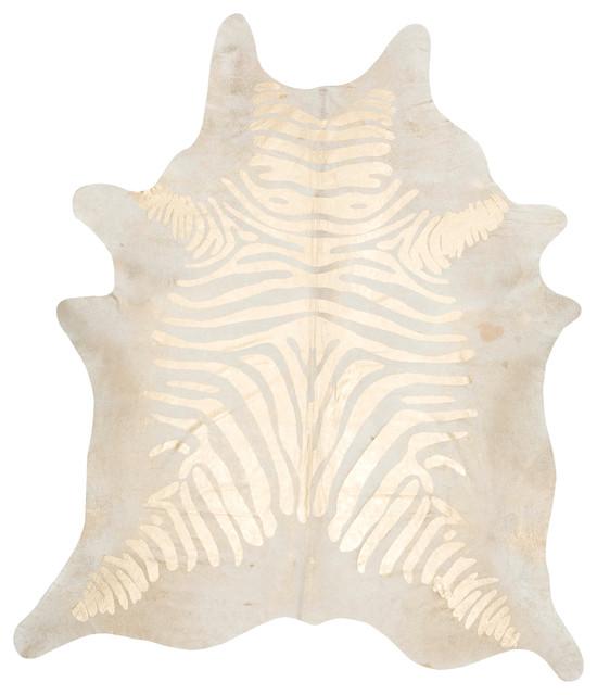 Devore, Zebra Rustic, Beige On Gold Cowhide, 6&x27;x7.5&x27;.
