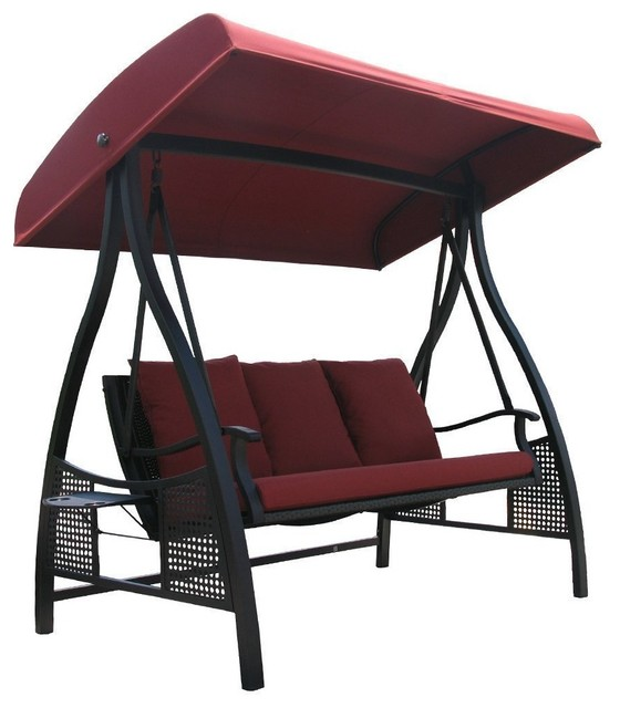 Abba Patio 3 Seat Steel Frame Swing With Adjustable Canopy