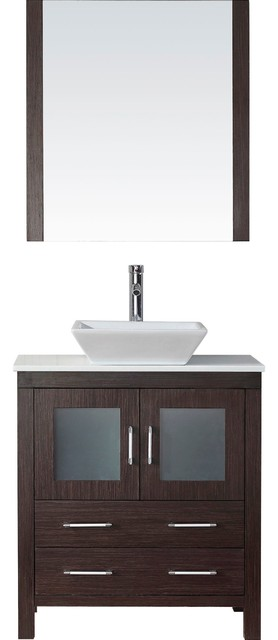 "Milan Vanity, Espresso With White Stone Top And Brushed Nickel Faucet, 30""."