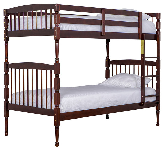 Julia 2-in-1 Twin-Over-Twin Bunk Bed, Mahogany