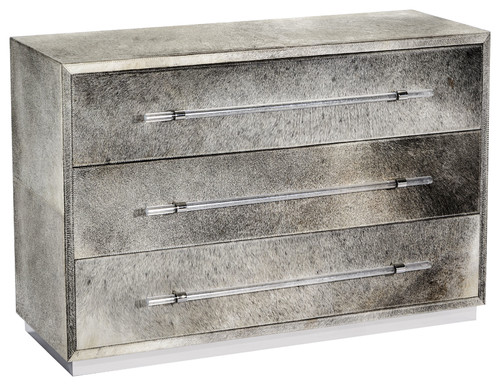 Cassian Grand Chest - Natural Hide, Polished Nickel, Clear