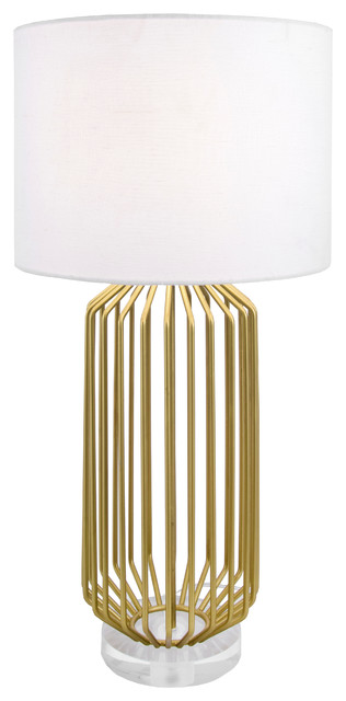 """Handmade 29"""" Cage Style Gold Table Lamp."""