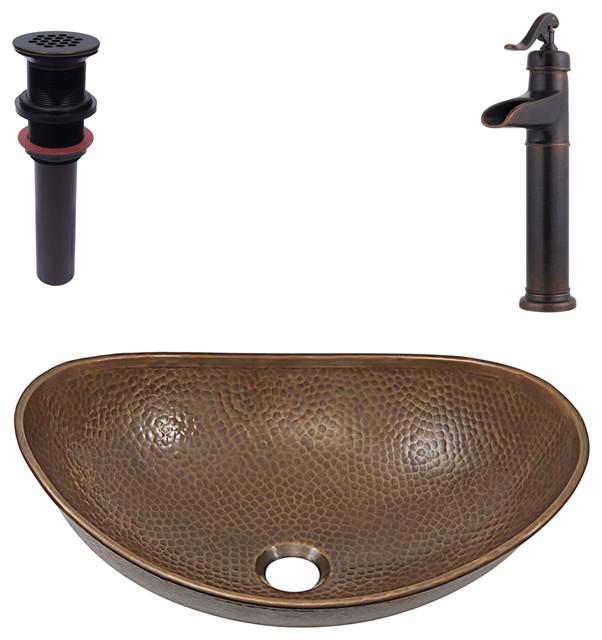 Confucius Vessel Copper Sink Kit With Pfister Bronze Faucet & Drain