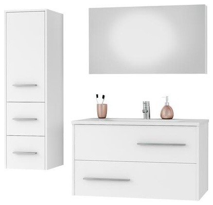 Dp Fancy Wall Bathroom Vanity Cabinet Set Single Sink, White Gloss Lacquer, 36.