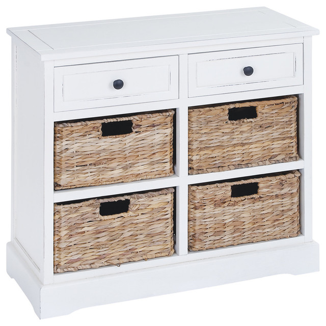 Wood Cabinet 2 Drawer 4 Baskets White Accent Table Furniture Decor Transitional Chests And Cabinets By Gwg Outlet