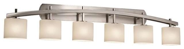 Justice Design Fsn-8596-30-Opal-Nckl Fusion Bathroom Light, Brushed Nickel.