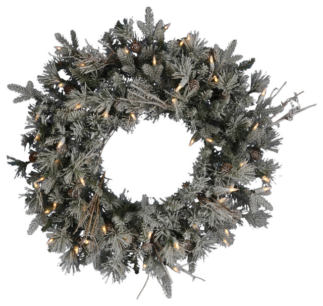 frosted wistler fir wreath 24 rustic wreaths and garlands - Christmas Wreaths With Lights