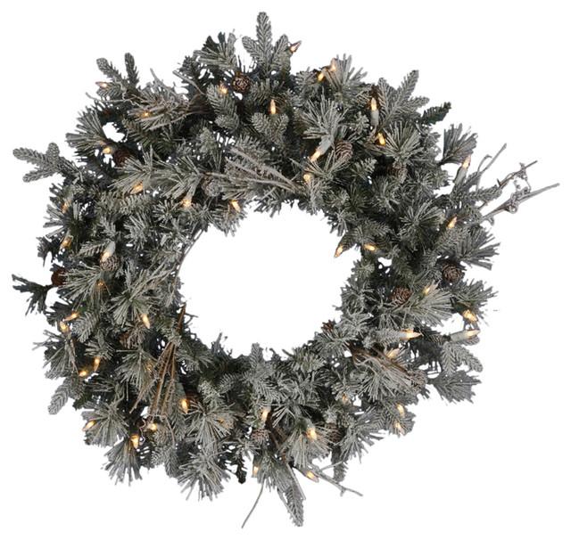 Pre Lit Frosted Wistler Fir Artificial Christmas Wreath Clear  - Christmas Wreath Lights