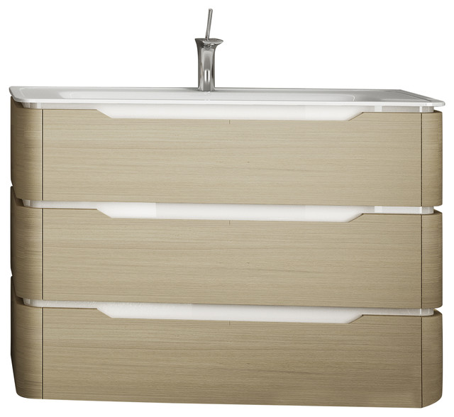 Strato 3-Drawer Washbasin Unit With Resin Countertop, Oak.