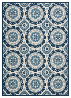 "Waverly Sun and Shade ""Solar Flair"" Indoor/Outdoor Area Rug, Navy, Easy to Clean Indoor Outdoor Rugs"