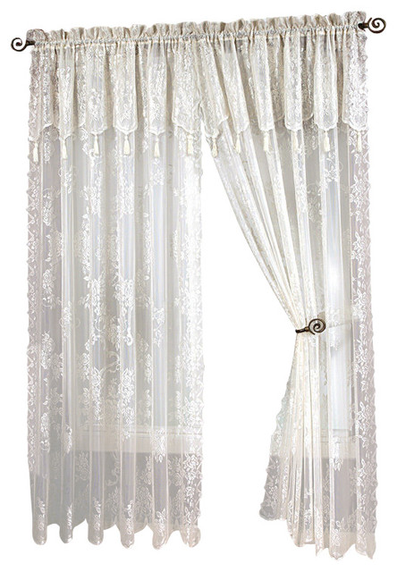 Carly Lace Curtain Panel With Attached Valance With