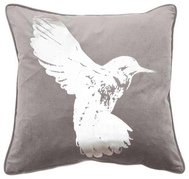 Hummingbird Silver Metallic Cushion