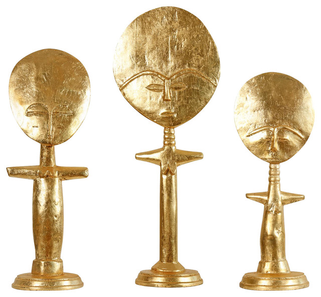 Arah global bazaar gold tribal figures set of 3 view for Modern decorative objects