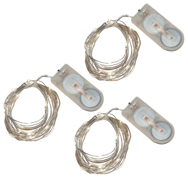 20 Battery Powered Mini LED String Lights Ultra Bright White, Set of ...