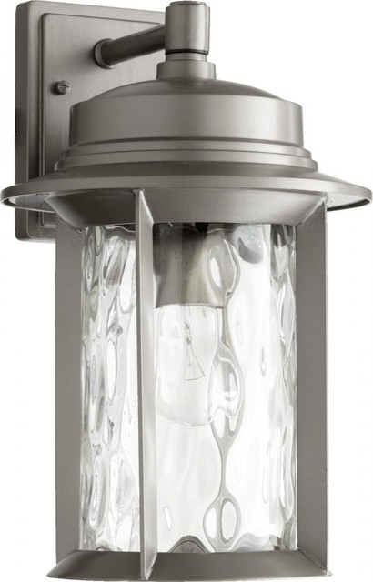 One Light Clear Hammered Glass Graphite Wall Lantern.