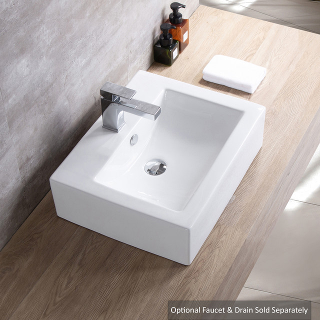 Rectangular Ceramic Bathroom Vessel Sink, 26\