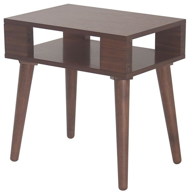Mid Century Modern Wood Accent Nightstand End Side Table, Brown Finish  Midcentury Nightstands