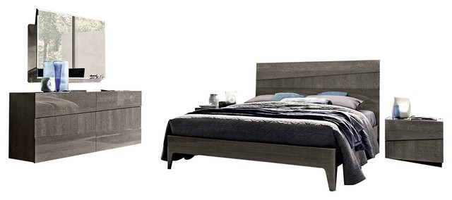 Tekno 5 Piece Contemporary Bedroom Set Silver Birch Queen Transitional Bedroom Furniture Sets By Bedtimenyc Houzz