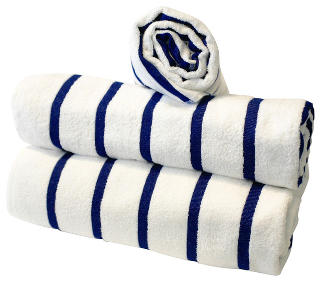 Hotel Collection Blue Stripe Pool/beach Towel 3-Piece Set